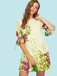 Drawstring Bell Sleeve Botanical Dress