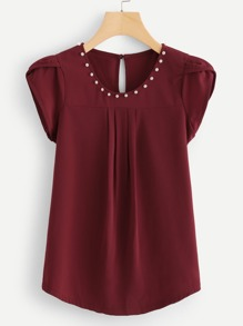 Pearls Buttoned Keyhole Curved Hem Blouse