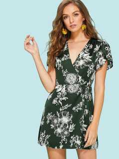 Tulip Sleeve Floral Wrap Dress