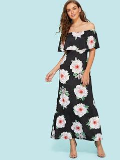 Floral Print Foldover Bardot Dress