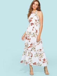 Ladder Lace Insert Ruffle Hem Floral Dress