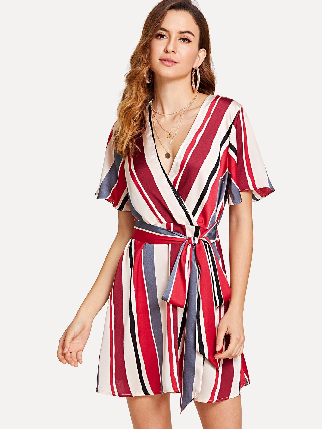 Self Belted Striped Surplice Wrap Dress surplice neck self belted floral dress