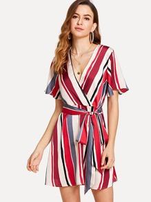 Self Belted Striped Surplice Wrap Dress