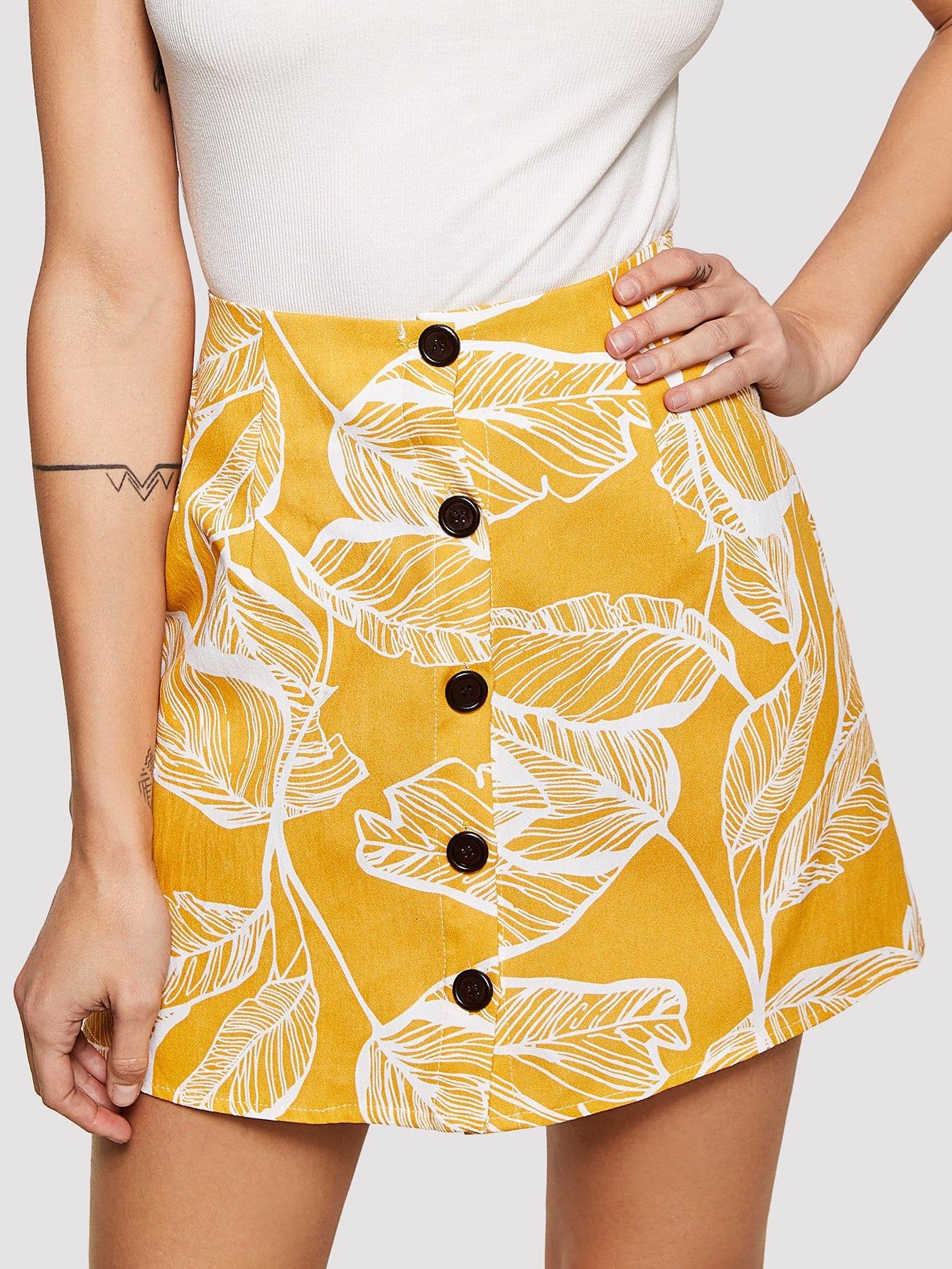 Jungle Leaf Print Button Up Skirt jungle leaf button detail jumpsuit