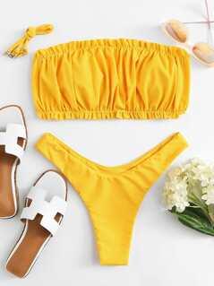 Crinkle Detail Bandeau Bikini Set