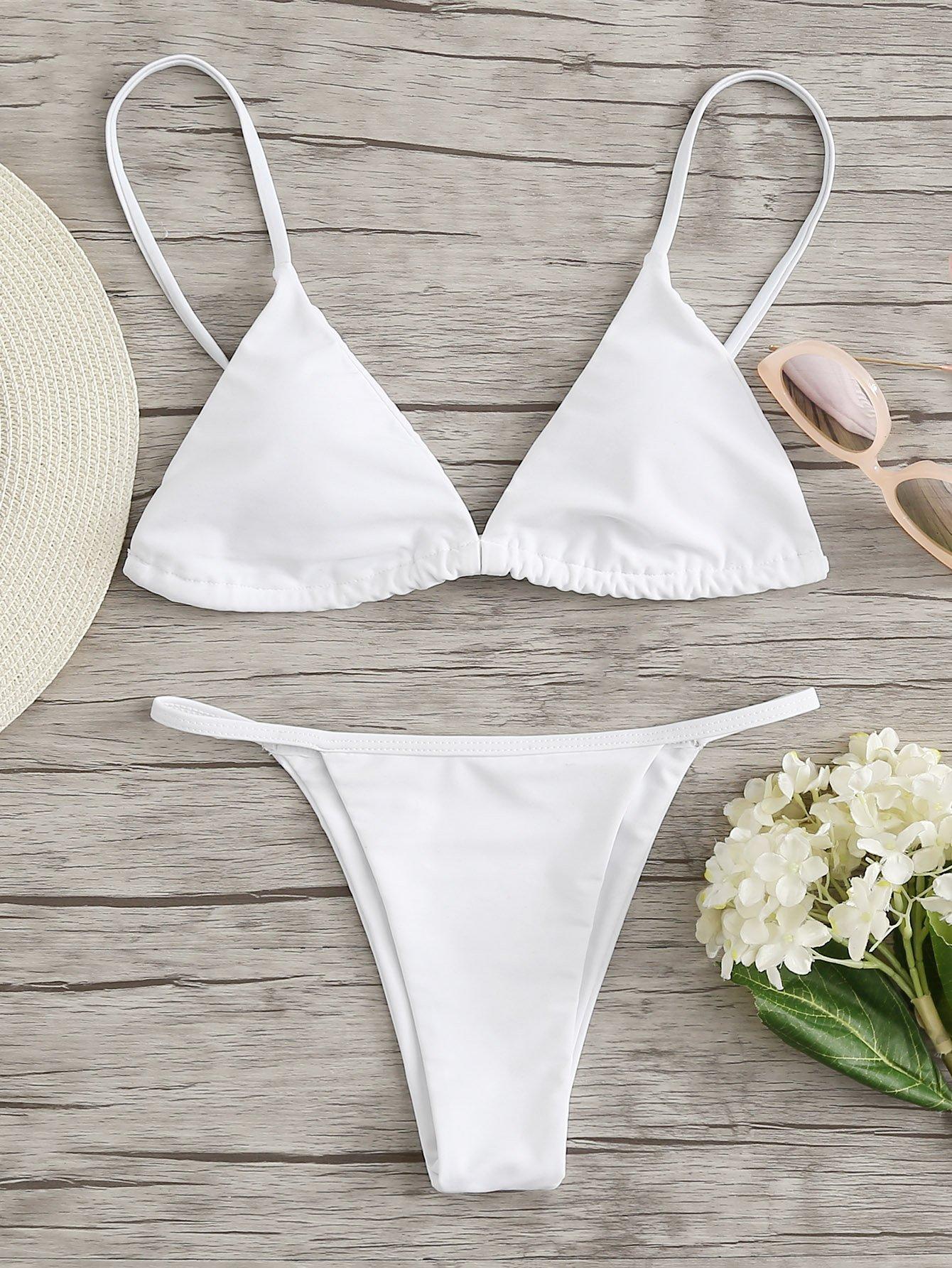 Halter Neck Triangle Bikini Set grey halter v neck padded design triangle bikini