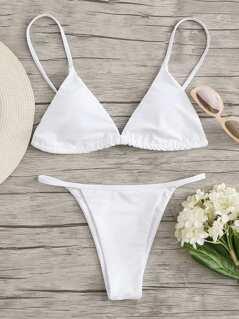 Back Lace Up Top With Seam Bikini Set