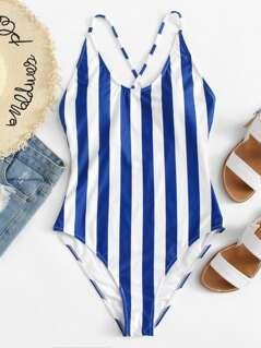 Crisscross Back Striped Swimsuit