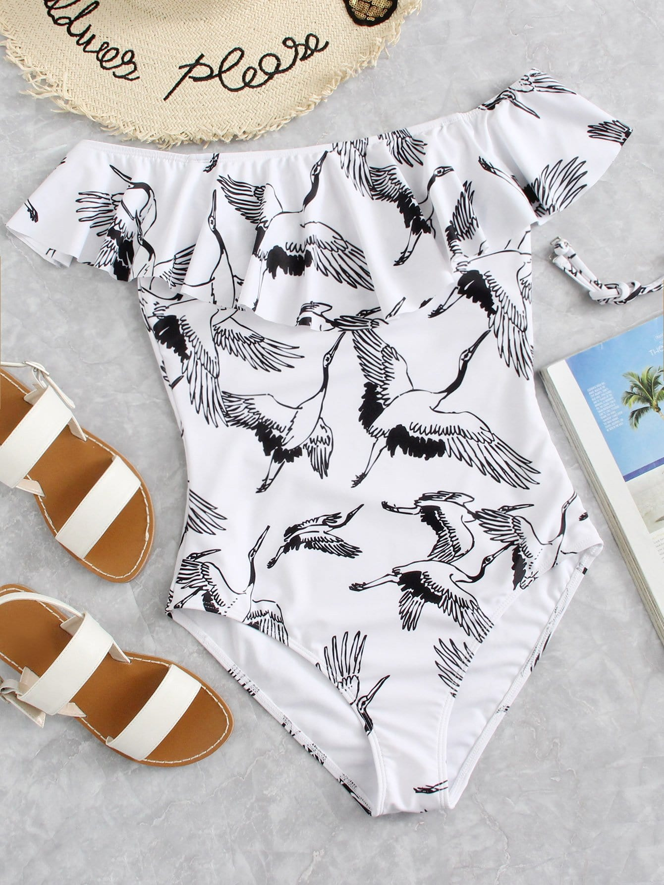 Crane Bird Print Flounce Cold Shoulder Swimsuit drop shoulder crane bird embroidered sweatshirt