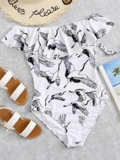 Crane Bird Print Flounce Cold Shoulder Swimsuit