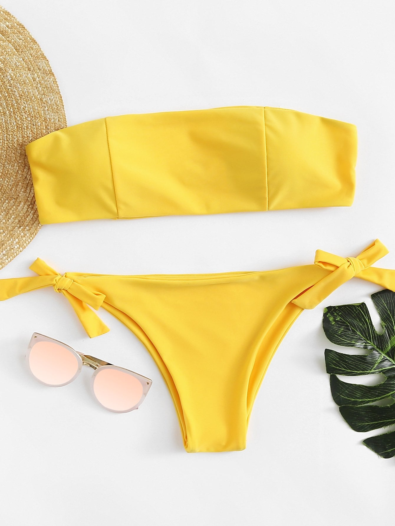 Knot Side Bandeau Bikini Set