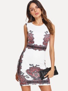Damask Print Form Fitting Dress