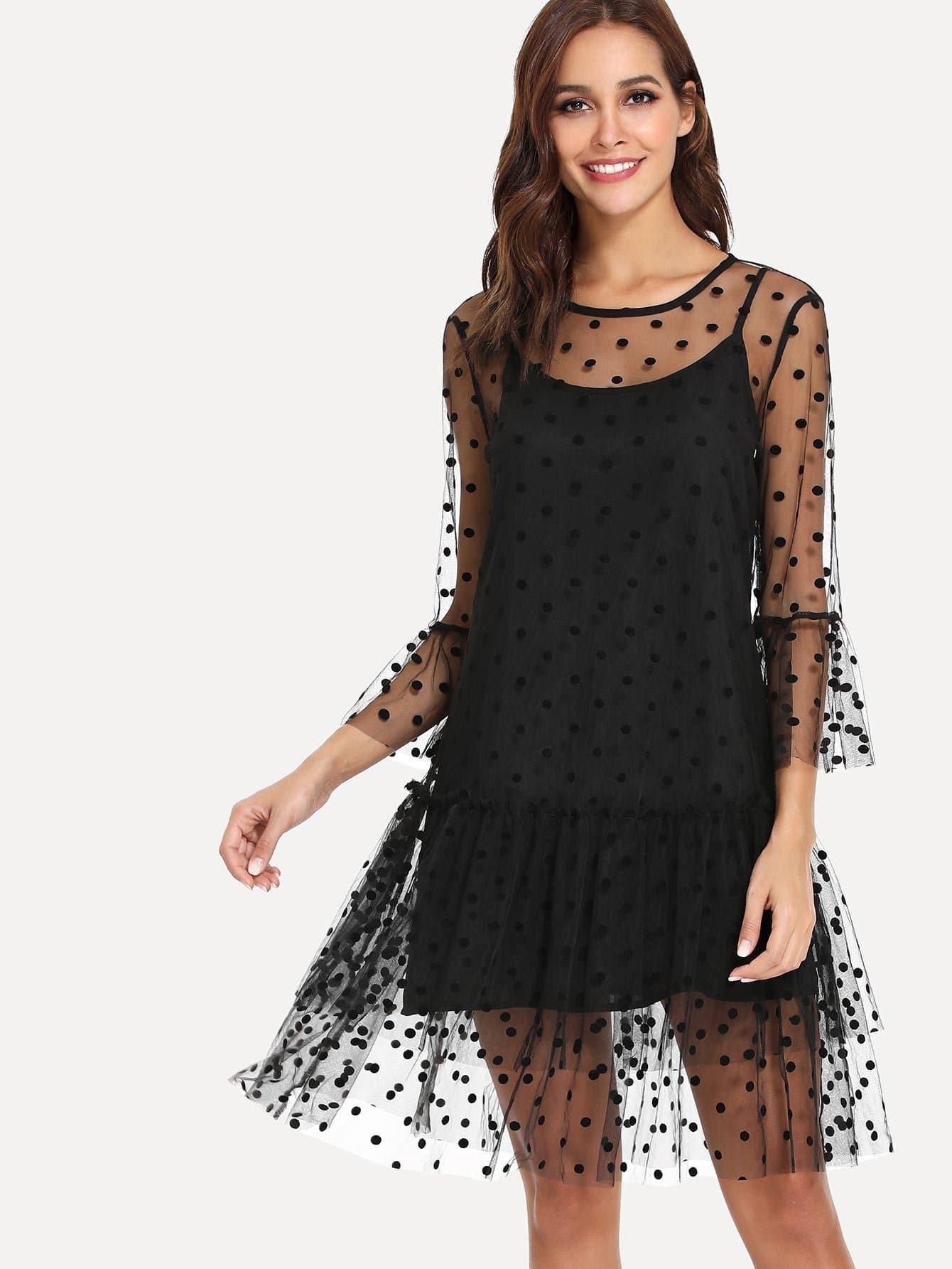 Ruffle Trim Dot Mesh Dress With Longline Cami ruffle mesh panel dress