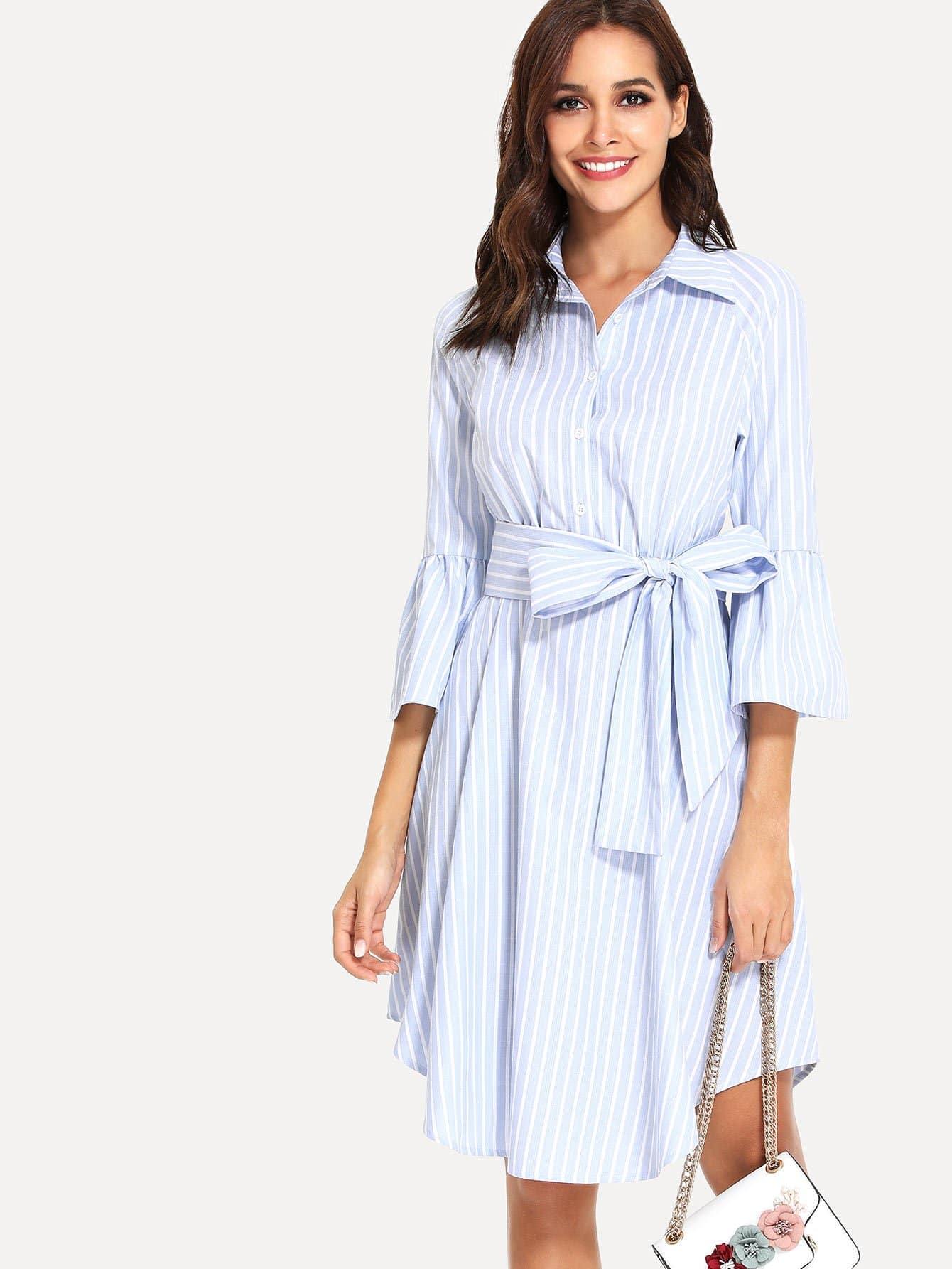 Ruffle Sleeve Pinstripe Curved Hem Shirt Dress batwing sleeve pocket side curved hem textured dress