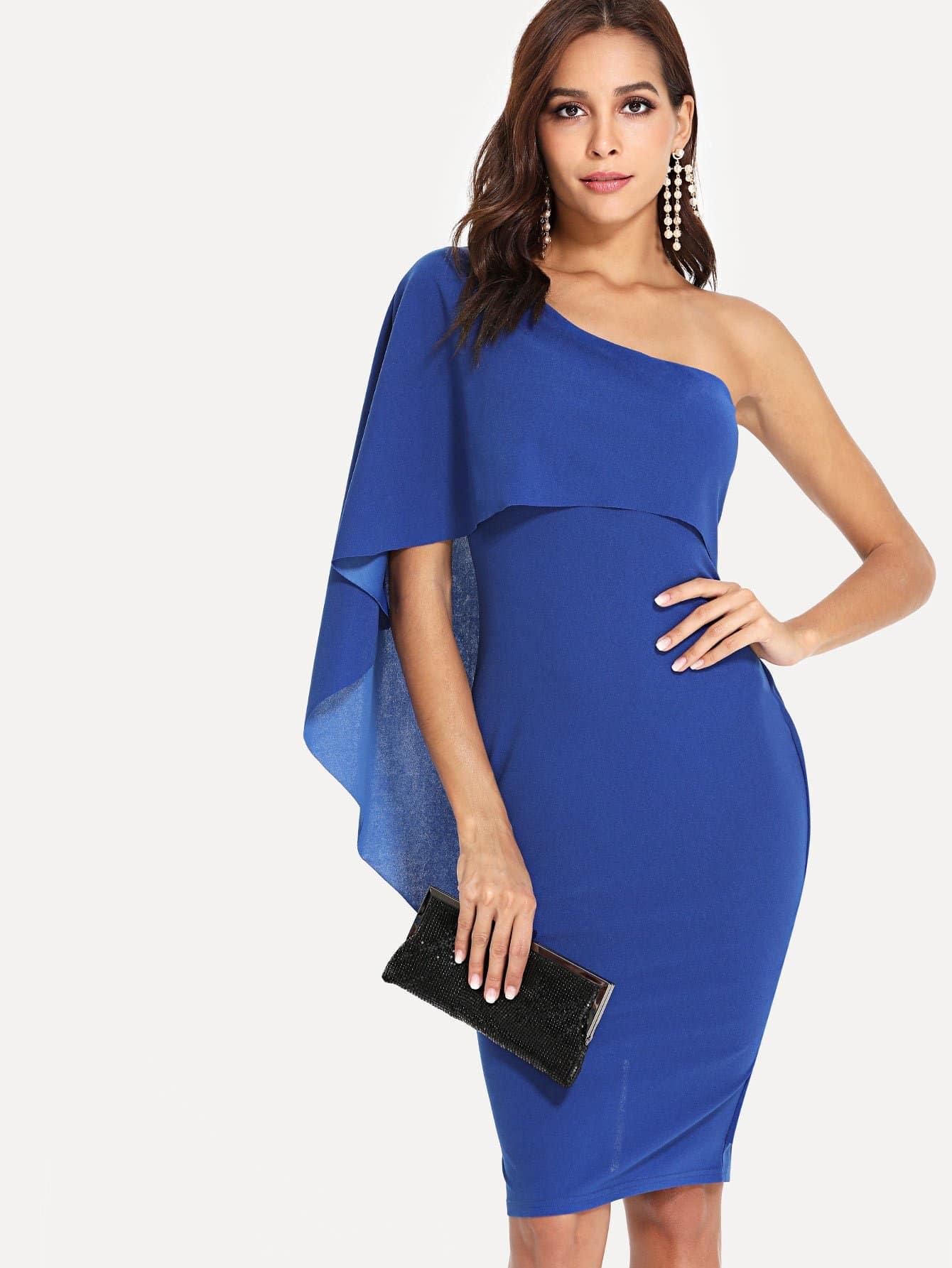 One Shoulder Slit Back Fitted Dress one shoulder slit back fitted dress