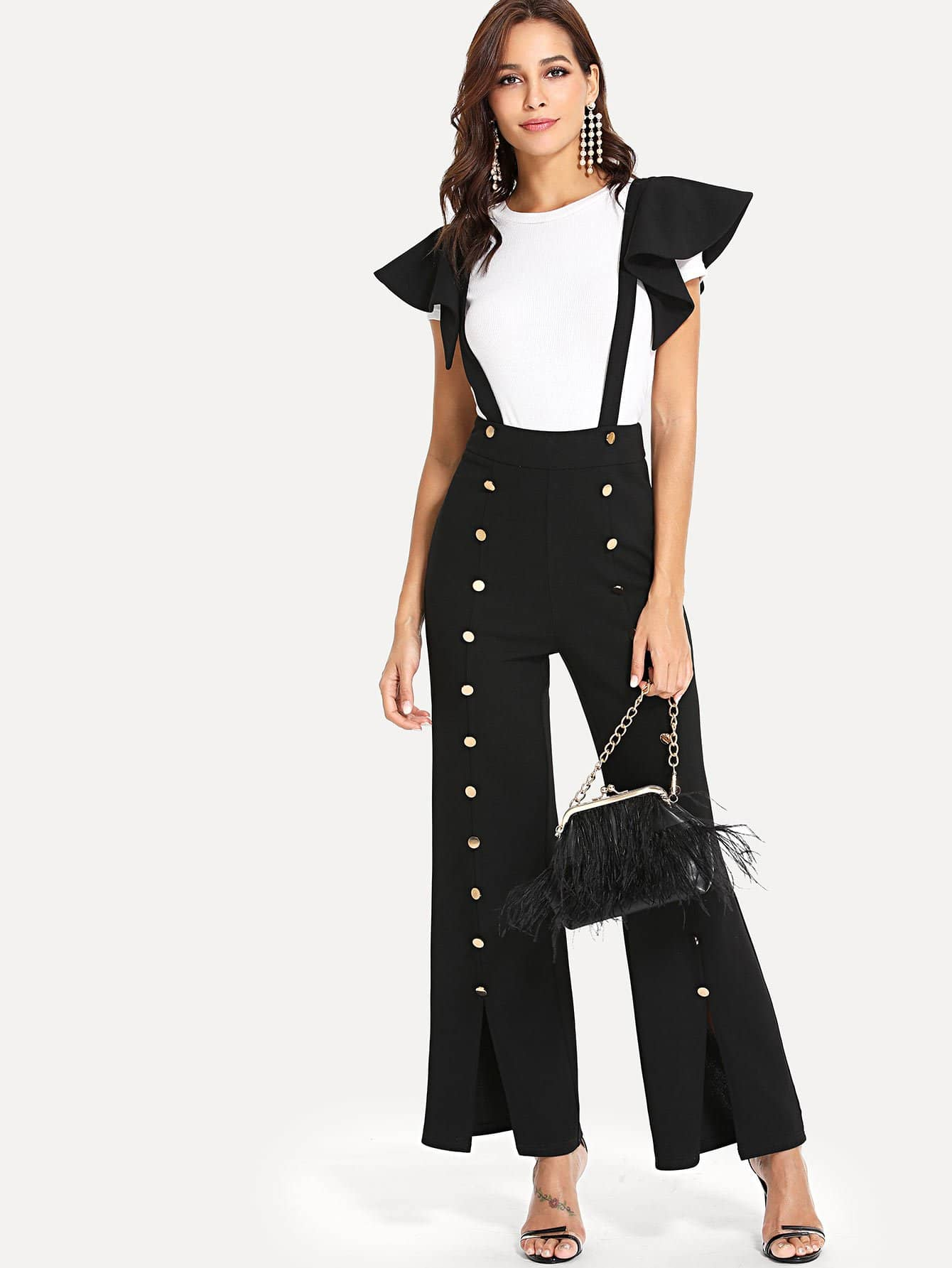Button Embellished Slit Hem Jumpsuit With Ruffle Strap fold over button front slit hem strap dress