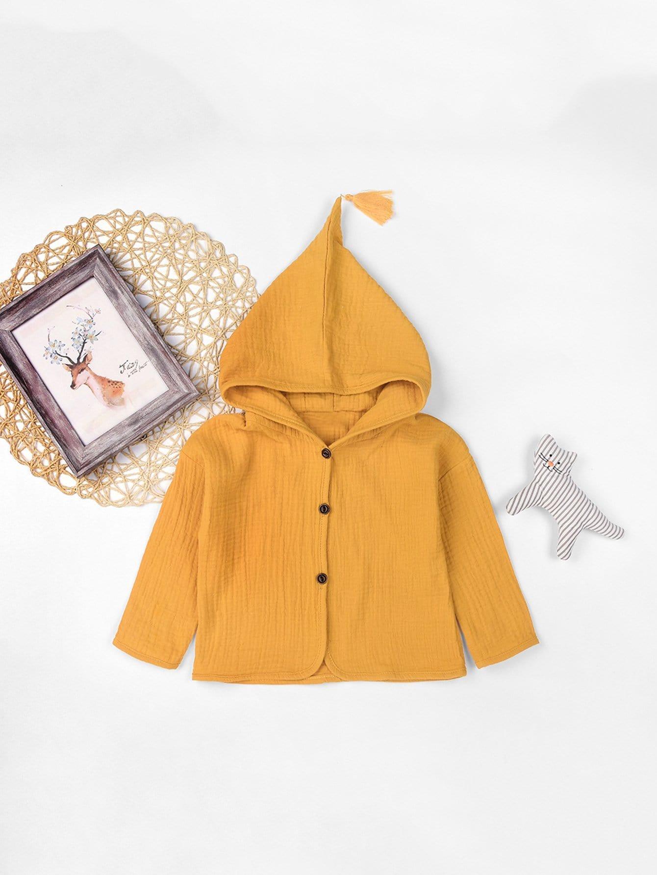 Купить Одноцветный на пуговицах Желтый Жакеты и пальто для девочек, null, SheIn