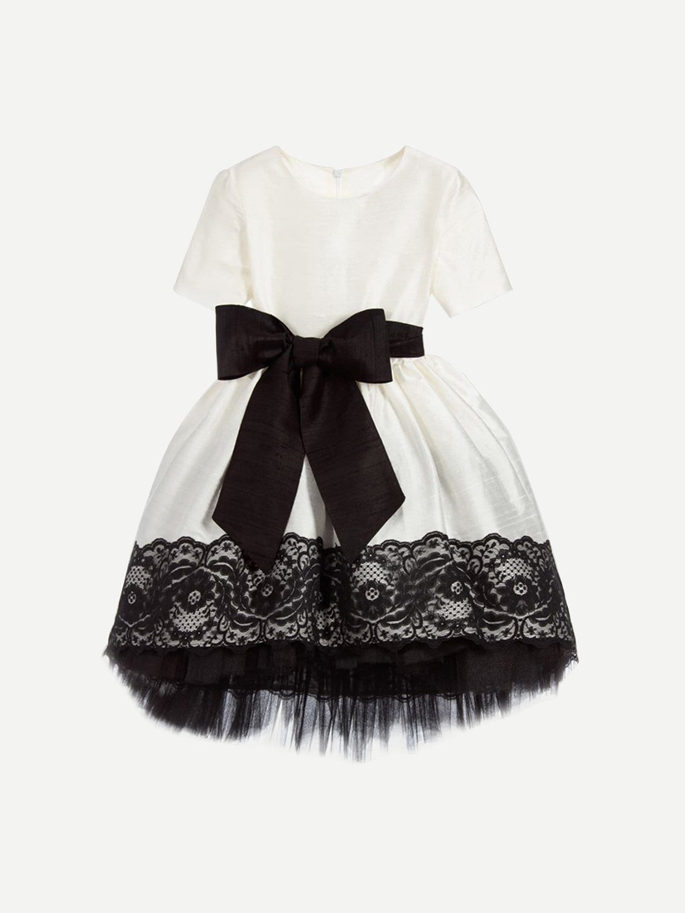 Girls Contrast Lace Bow Waist Dress