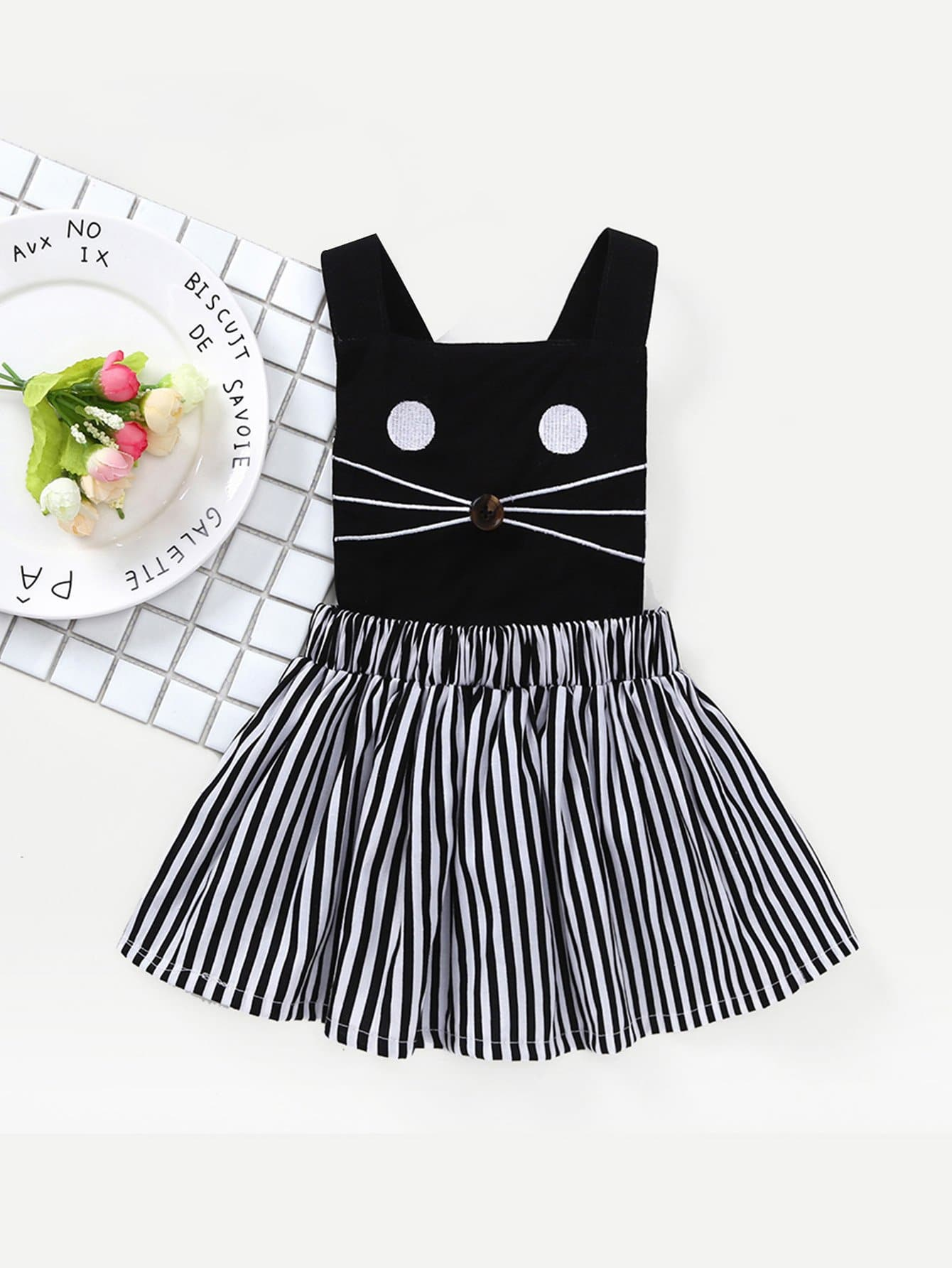 Kids Cat Embroidered Striped Dress waterproof touch keypad card reader for rfid access control system card reader with wg26 for home security f1688a