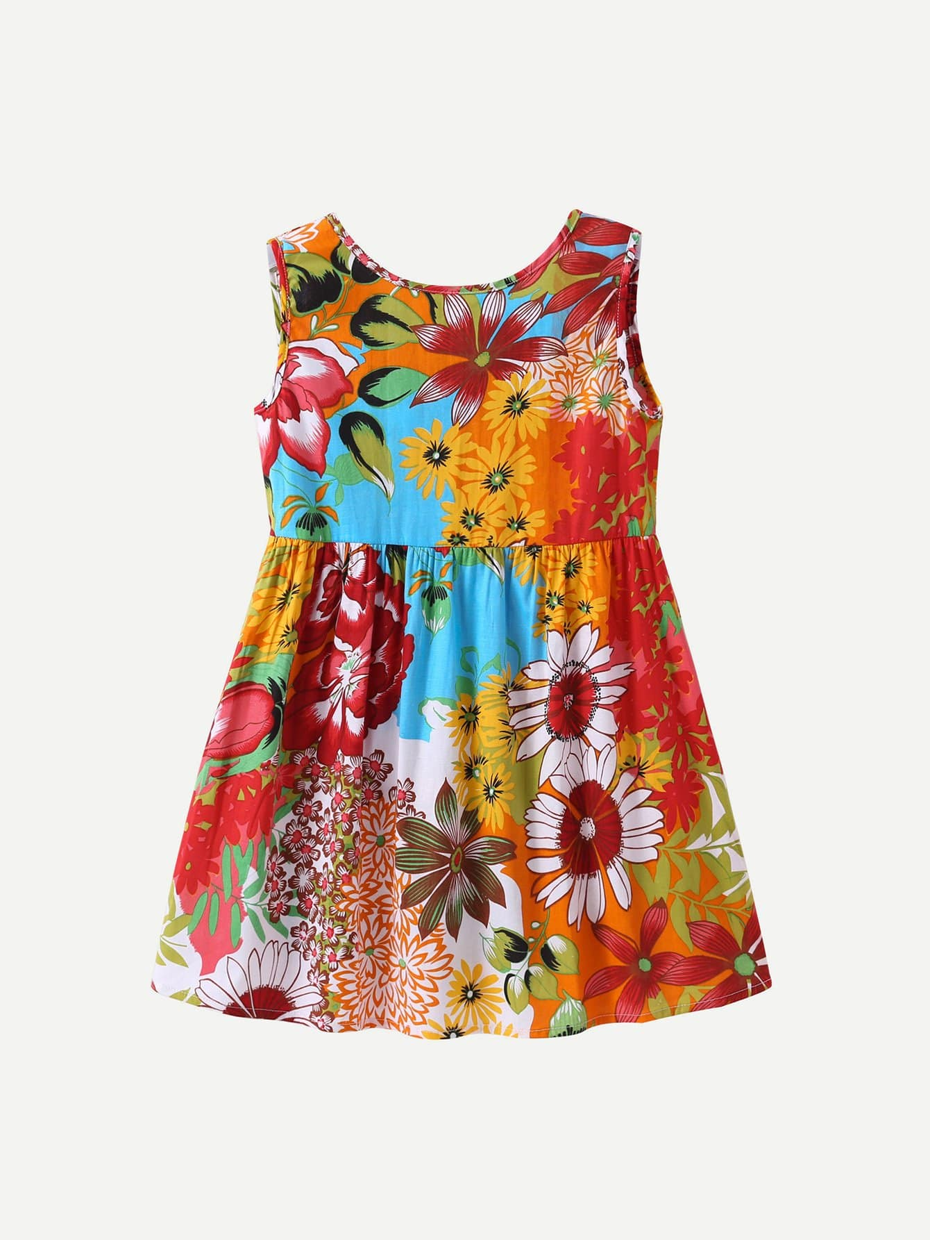 Girls Knot Back Floral Print Dress