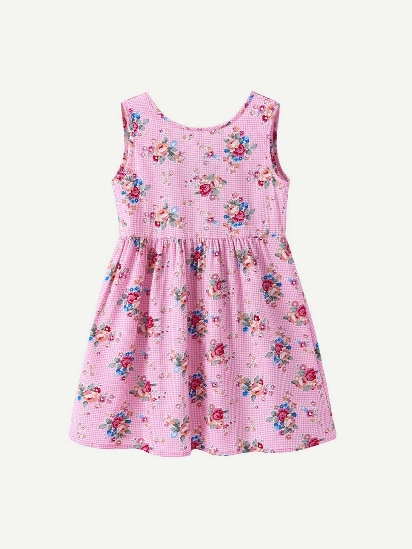 Kids Knot Back Floral Print Dress cut out knot back floral print dress