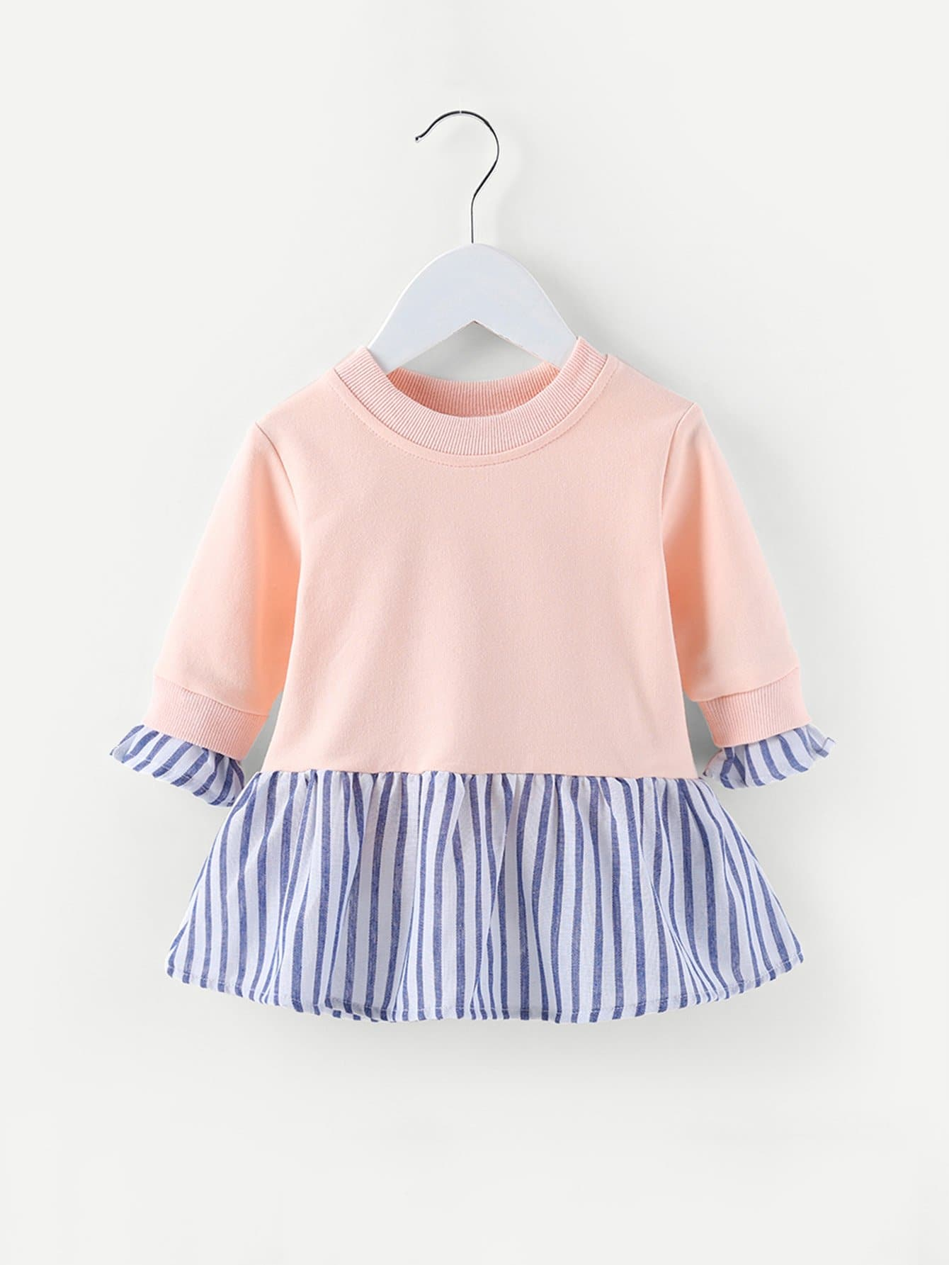 Girls Contrast Striped Sweatshirt Dress