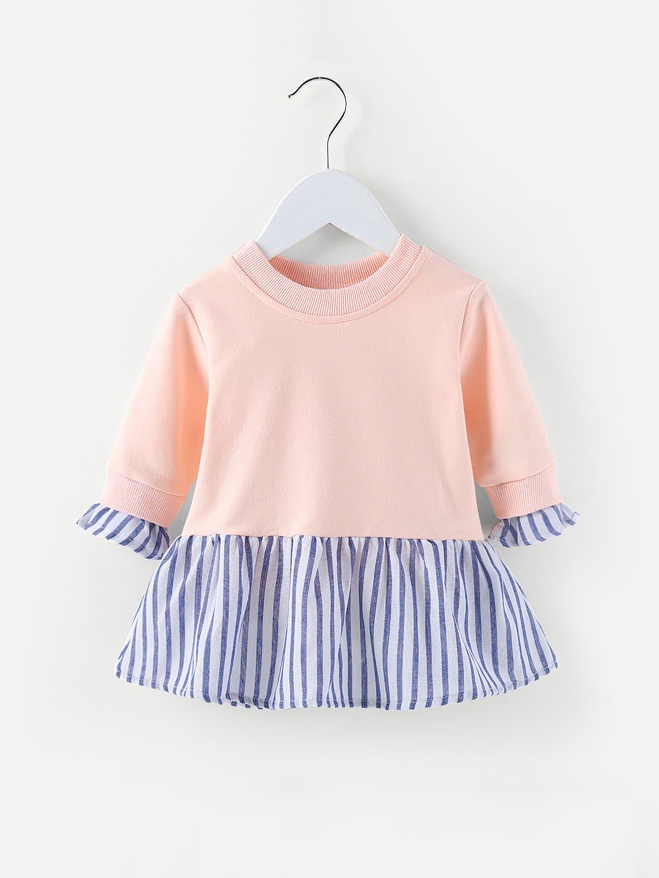 Kinder Sweatshirt Kleid mit Streifen