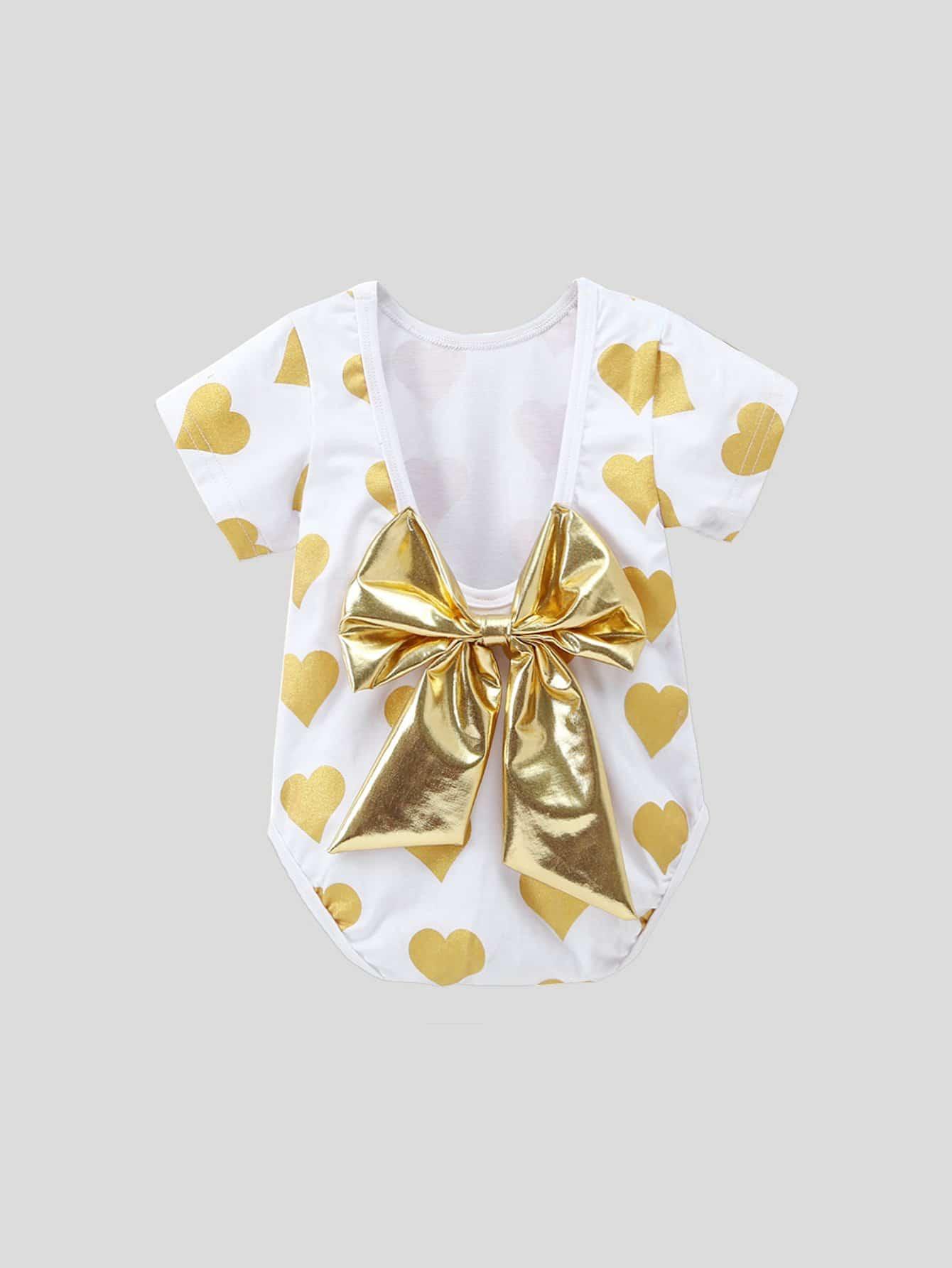 Baby Bow Back Heart Print Romper, null, SheIn  - купить со скидкой