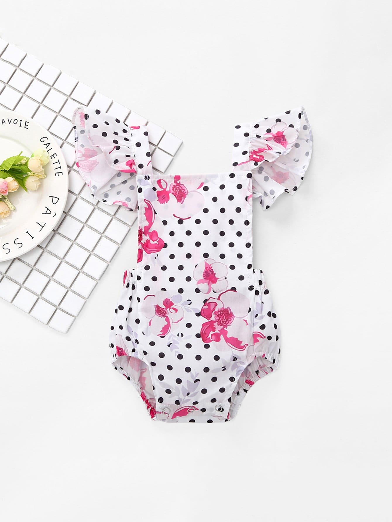 Girls Baby Knot Back Spot Ruffle Romper newborn baby boy girl infant warm cotton outfit jumpsuit romper bodysuit clothes