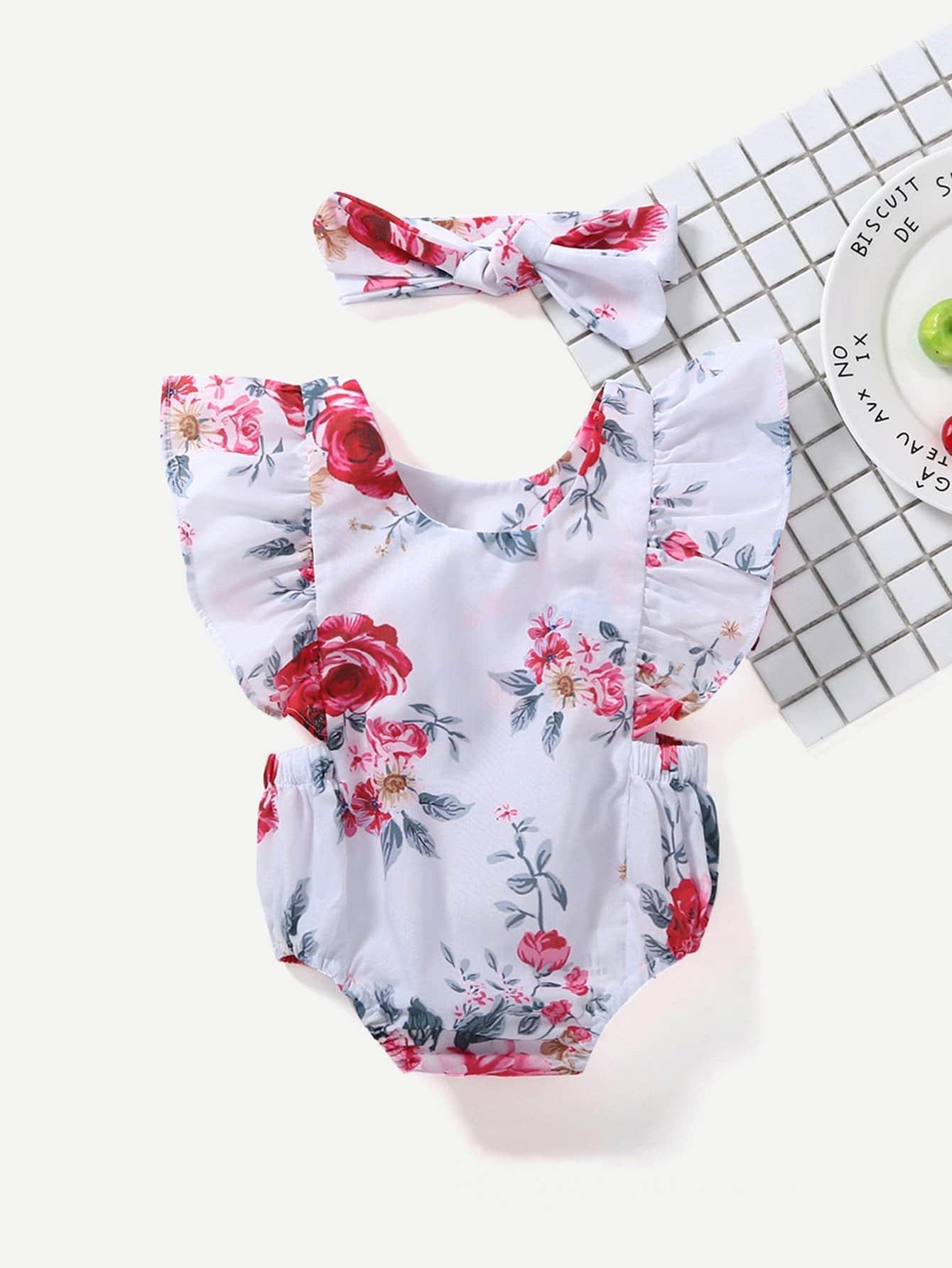 Девочек Baby Цветочный Печати Рюшами Ползунки С Оголовьем