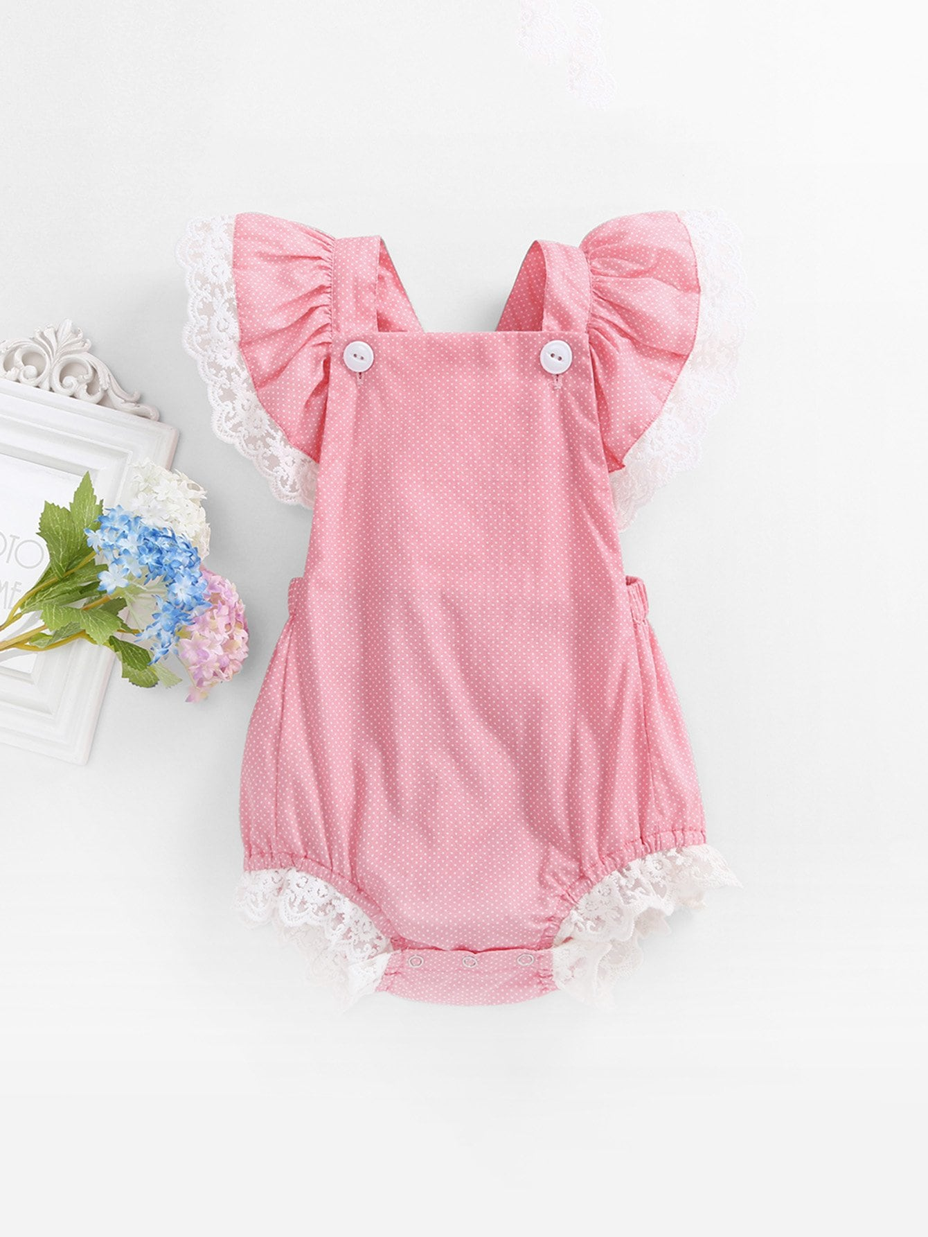 Girls Baby Lace Trim Spot Romper