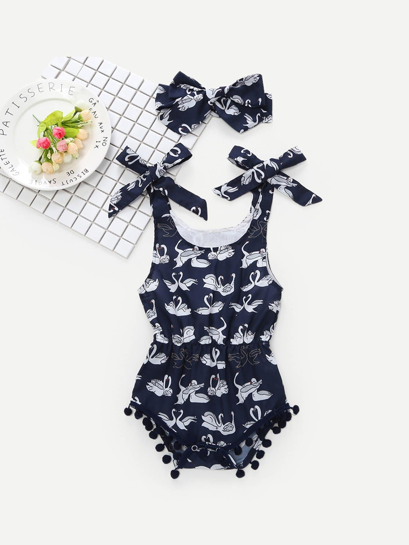 Baby Pom Pom Hem Swan Print Romper With Headband pom pom ball applique rabbit print pullover