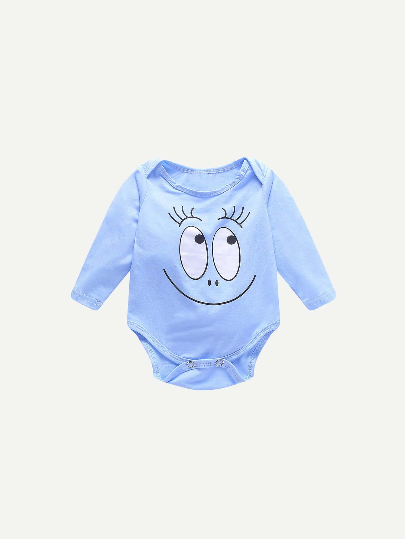Baby Cartoon Eye Print Romper With Hat
