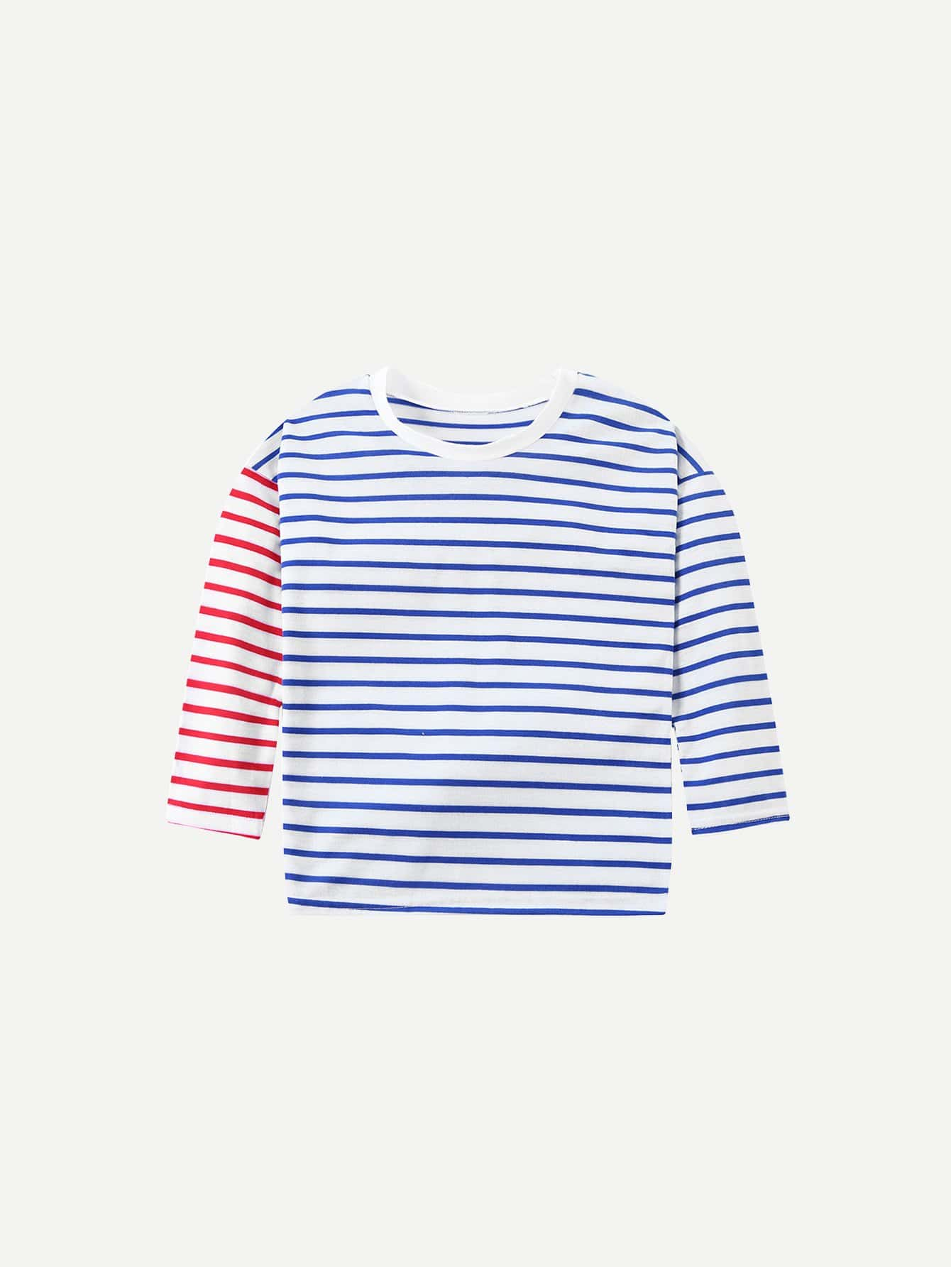 Kids Contrast Striped Tee contrast striped trim camo print tee