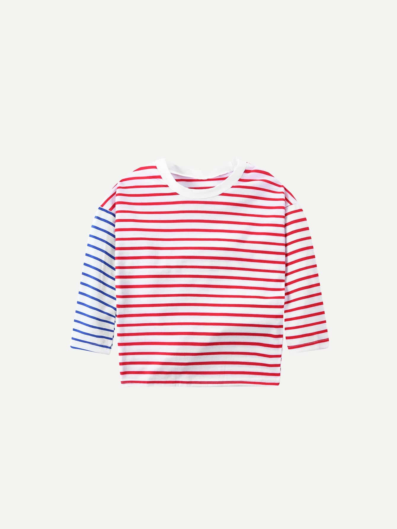 Kids Contrast Striped Tee contrast striped trim camo print tee