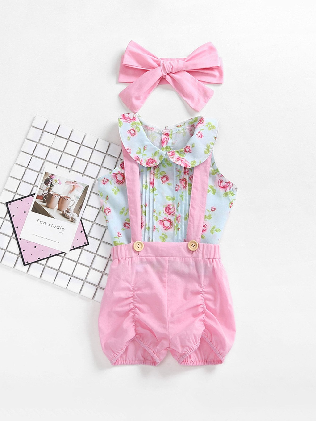 Girls Baby Floral Print Top & Overalls Set With Headband