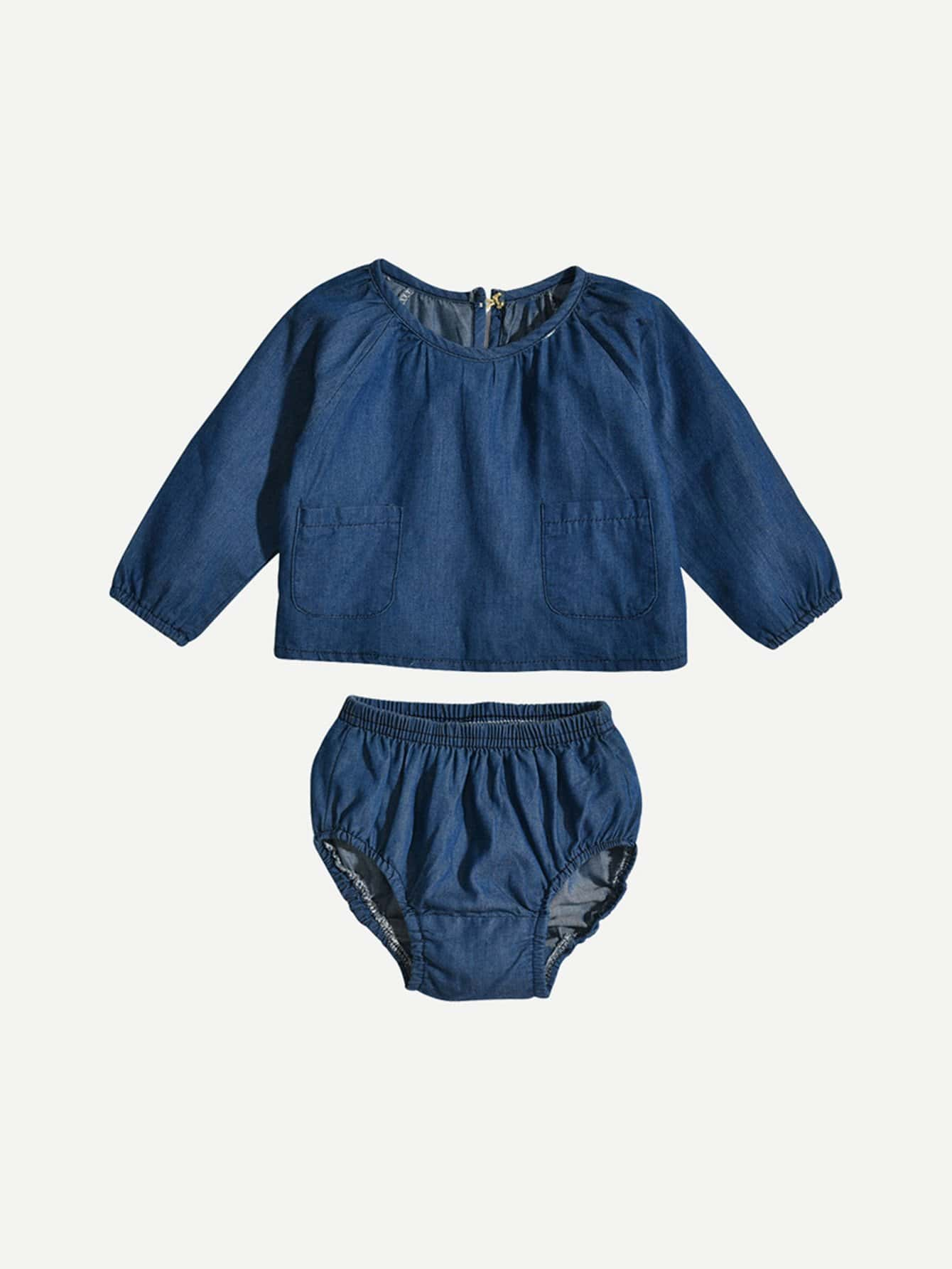 Baby Dual Pocket Denim Top With Shorts