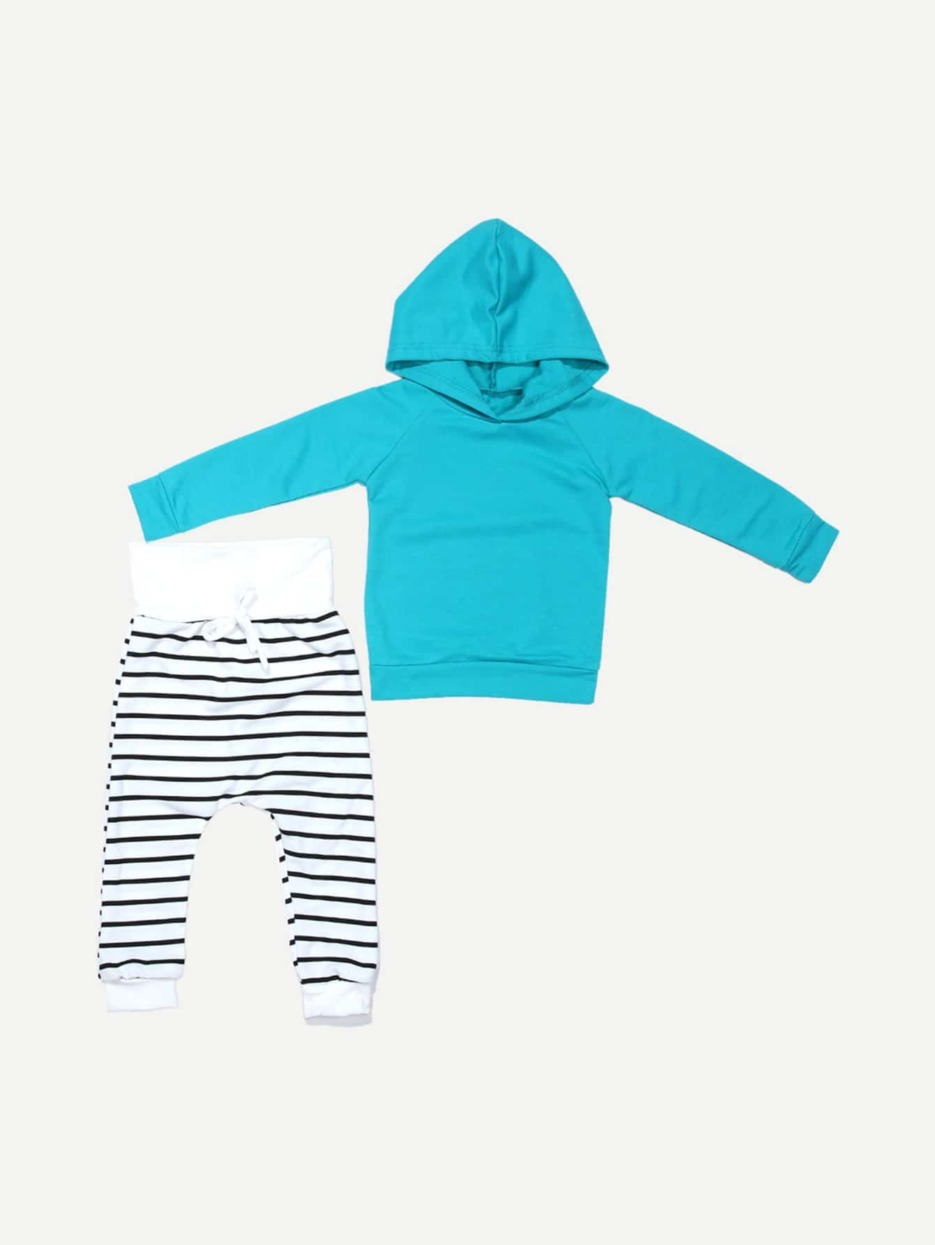 Kids Solid Hoodie With Striped Pants