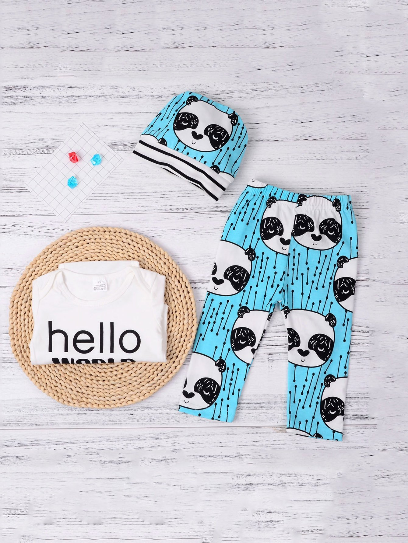 Boys Baby Panda Print Top & Pants Set With Hat original huimei 51pcs electric train railway tracks building blocks set boys brick toys compatible with duplo baby gift