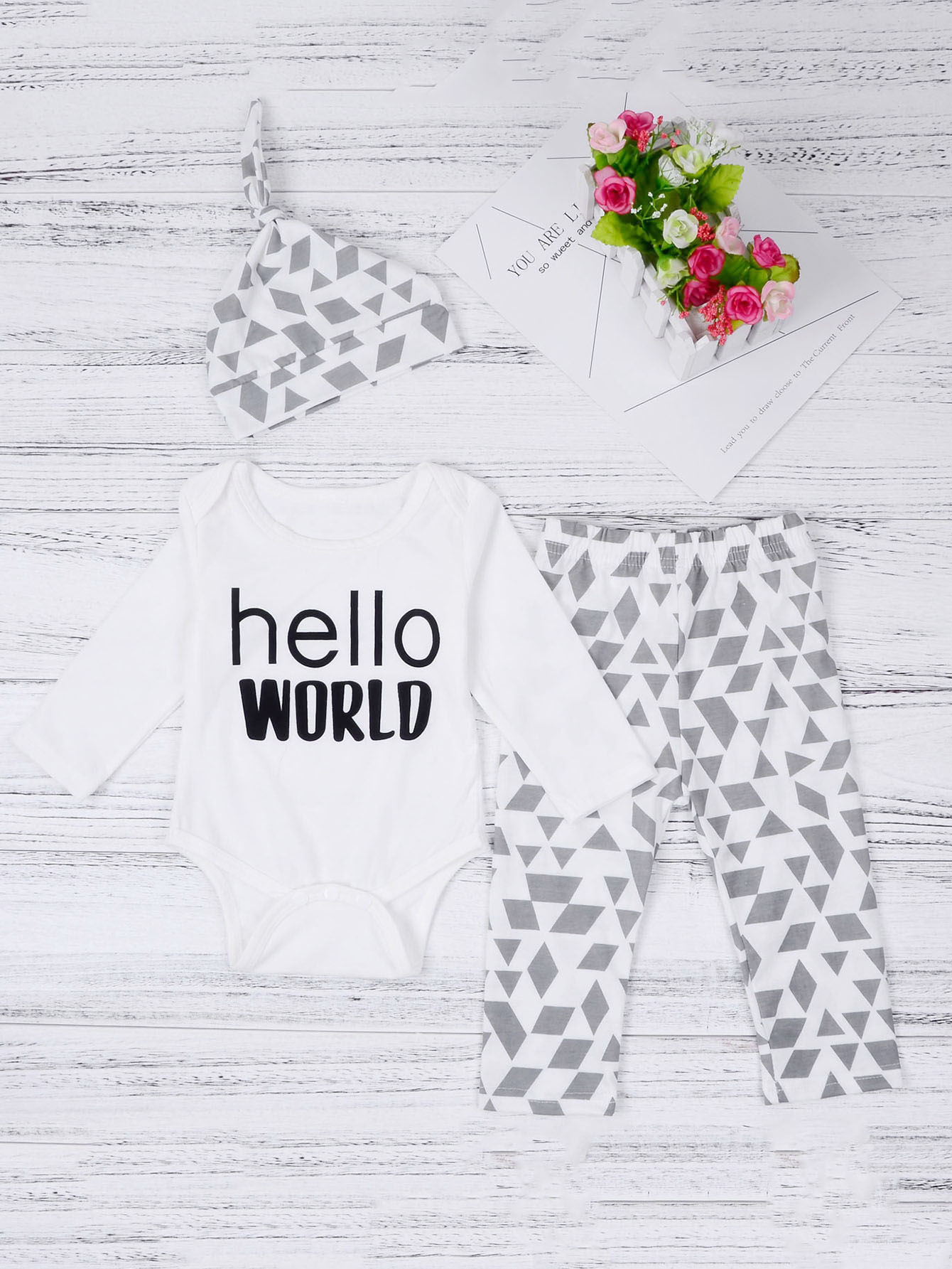 Baby Geo Print Top & Pants Set With Hat geo print cami with pants