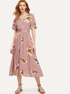 Button Up Elastic Waist Floral Dress