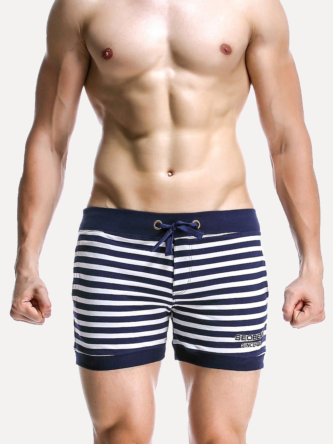 Men Contrast Stripe Drawstring Shorts
