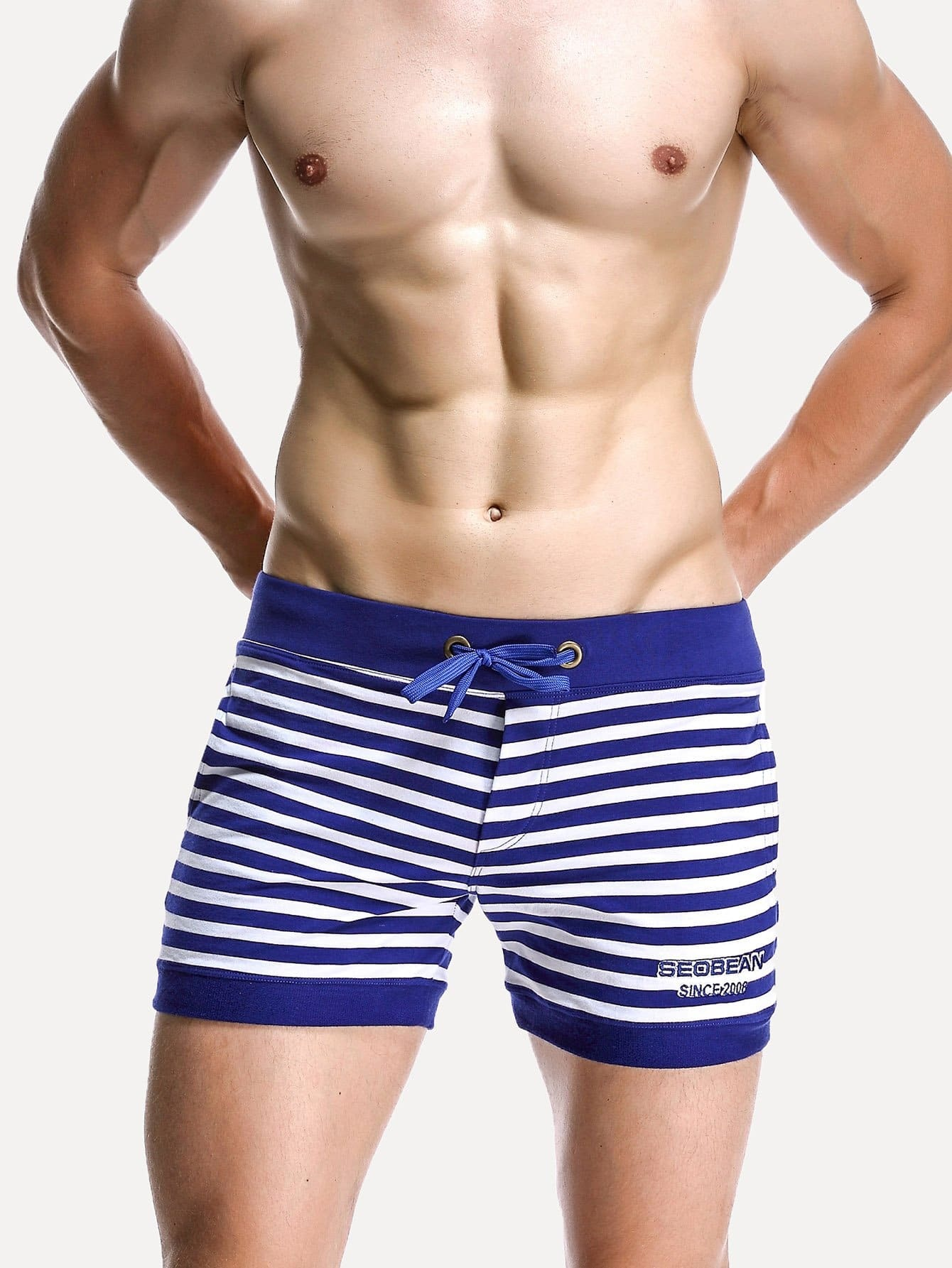Men Contrast Stripe Drawstring Shorts цена и фото