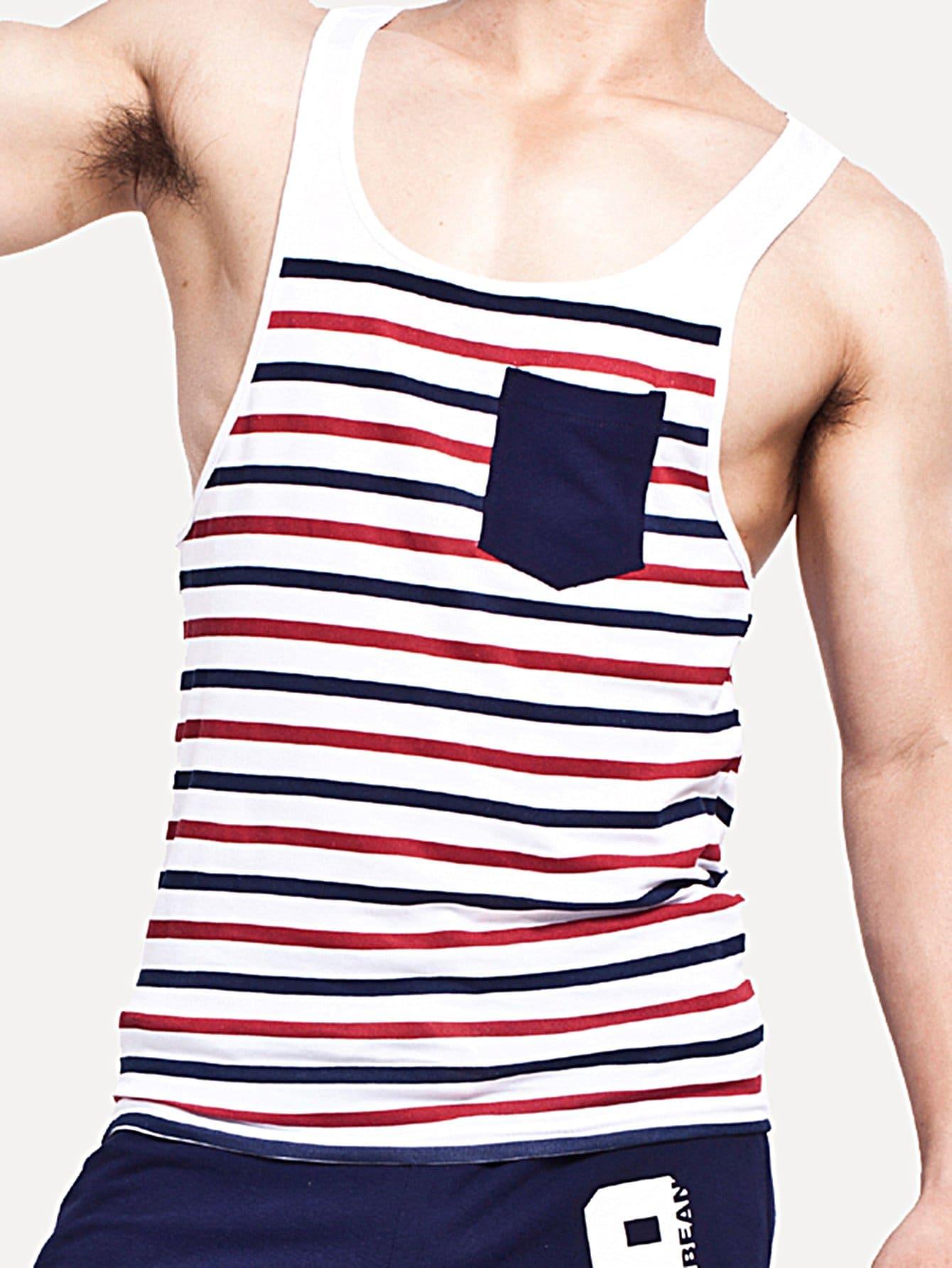 Men Contrast Pocket Striped Tank Top цена