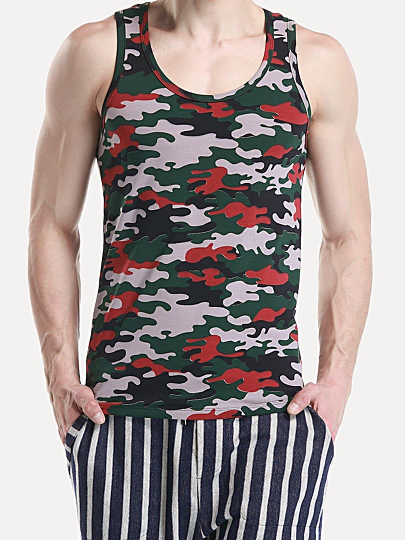 Men Camo Print Tank Top men basic tank top