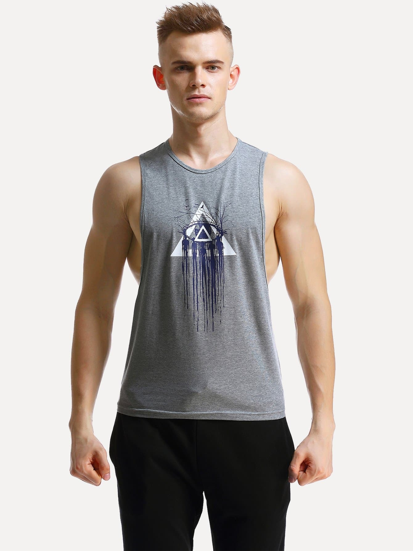 Men Graphic Print Low Side Marled Tank Top letter graphic long tank top
