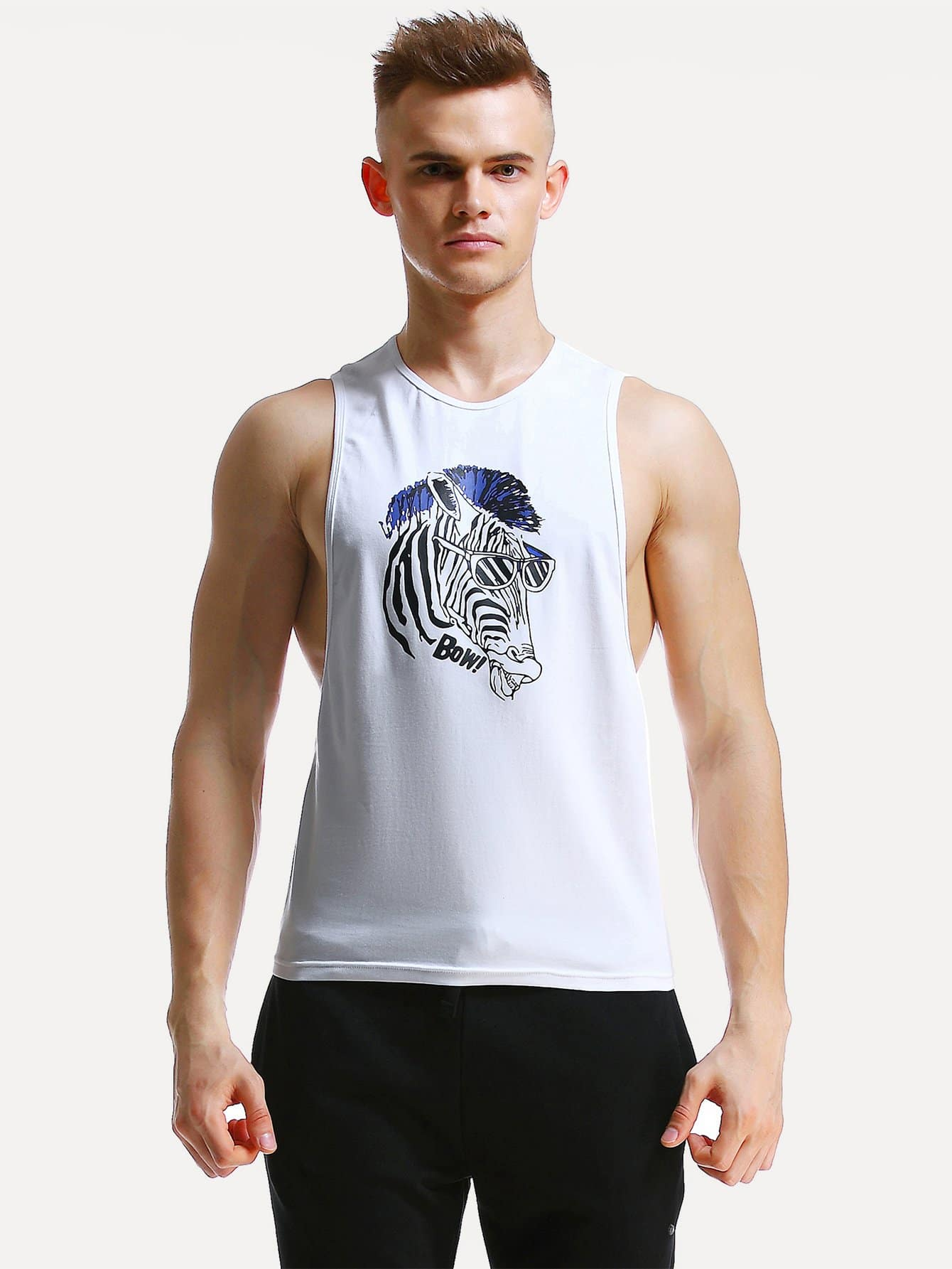 Men Graphic Print Low Side Tank Top letter graphic long tank top