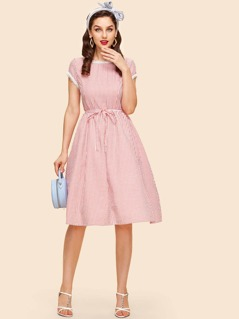 Lace Trim Fit & Flare Pinstripe Dress with Belt