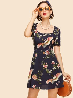 Square Neck Floral Dress