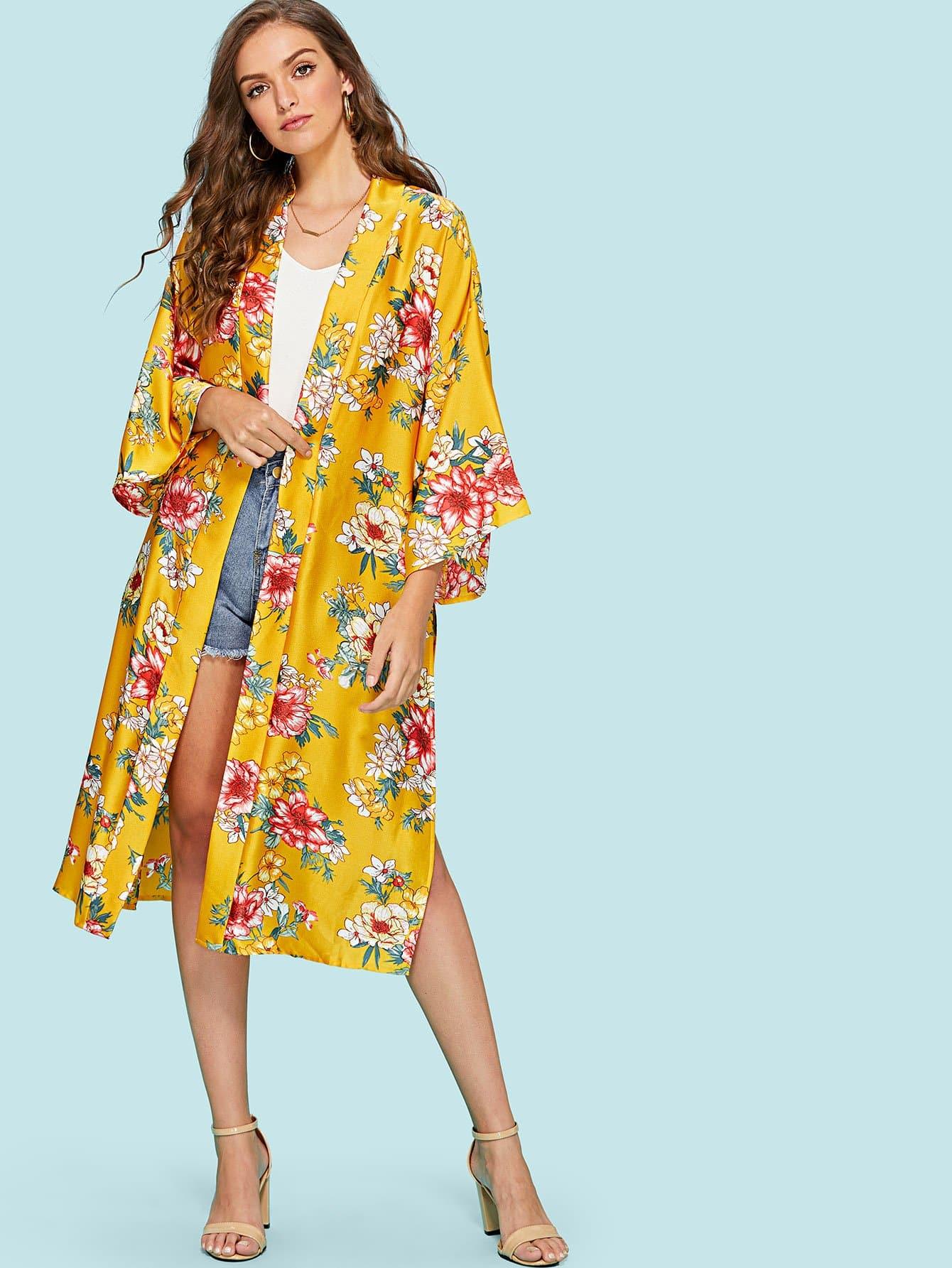 Side Slit Longline Floral Kimono slit side asymmetrical hem embroidery mesh kimono